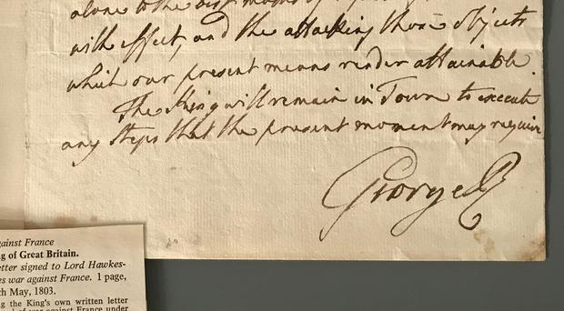 A letter written by King George III, dated May 14 1803, which sold for £11,430 at Cheffins auctioneers in Cambridge (Cheffins/ PA)