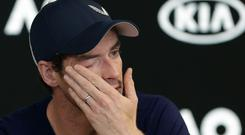 Andy Murray wipes away the tears during a press conference at the Australian Open (Mark Baker/AP)