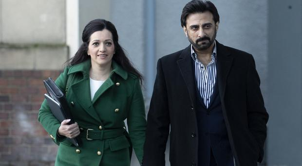 Tasmina Ahmed-Sheikh and her husband Zulfikar Sheikh arrive for the Solicitors' Discipline Tribunal hearing at Perth Concert Hall (Jane Barlow/PA)