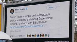 A poster erected by Led By Donkeys as a 'public information campaign' of politicians historic statements. (Credit: @ByDonkeys on Twitter/PA)