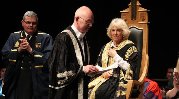 The Duchess of Cornwall installs Professor George Boyne as vice-chancellor of the University of Aberdeen (Andrew Milligan/PA)