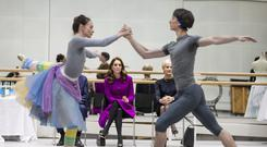 The Duchess of Cambridge watches a Royal Ballet dancer during her visit to the Royal Opera House in London (Heathcliff O'Malley/Daily Telegraph/PA)