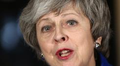 Prime Minister Theresa May speaking outside 10 Downing Street in London (Yui Mok/PA)