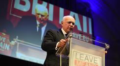 Iain Duncan Smith speaking at a Leave Means Leave rally at Central Hall in London. (Kirsty O'Connor/PA Images)