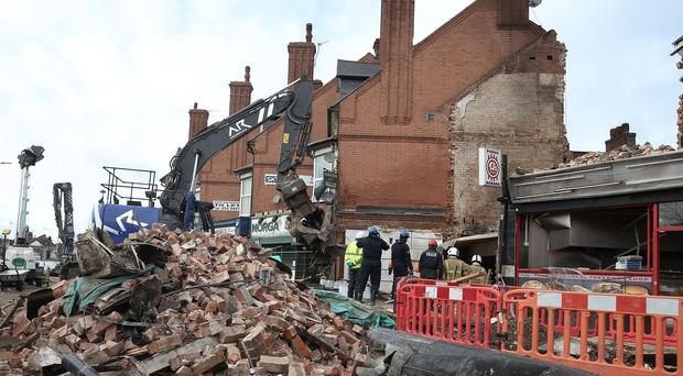 Emergency services at the scene of the blast in Hinckley Road in Leicester (Aaron Chown/PA)