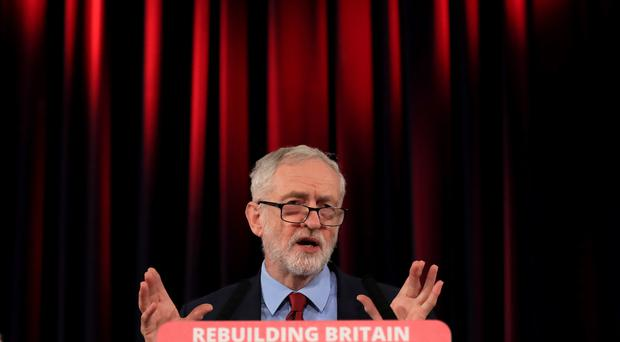 Labour leader Jeremy Corbyn speaking at St Mary's in the Castle during a visit to Hastings in East Sussex on Thursday (Gareth Fuller/PA)
