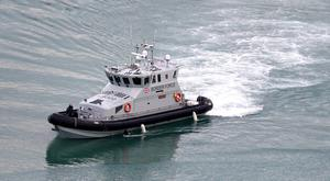 A Border Force patrol boat arrives in the Port of Dover.