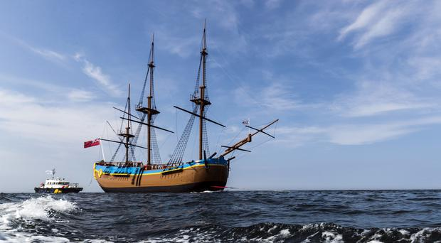 This replica of Endeavour is now moored in Whitby (PA)