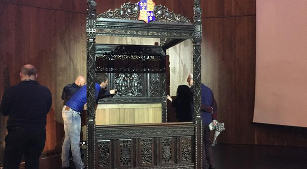 A bed believed to be the marital bed of Henry VII (Ian Coulson/PA)