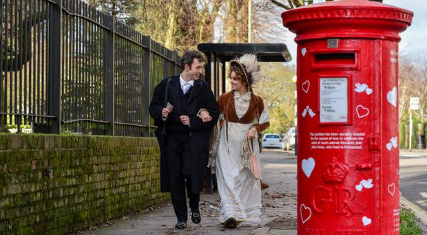 A postbox decorated in honour of poet John Keats in Hampstead Heath (Royal Mail)