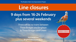 The southern section of the Brighton Main Line is closed for nine days (Network Rail/PA)