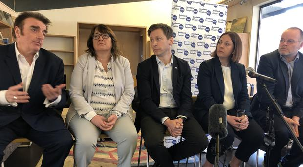 A cross-party group of MPs and MSPs spoke at a People's Vote event in Edinburgh on Monday (Lewis McKenzie/PA)