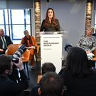 Labour MP Luciana Berger announced her resignation during a press conference at County Hall in Westminster, along with Chris Leslie, Chuka Umunna, Gavin Shuker, Angela Smith, Mike Gapes and Ann Coffey (Stefan Rousseau/PA)