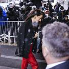 Amal Clooney arrives for the baby shower for Meghan, Duchess of Sussex (Kevin Hagen/AP)