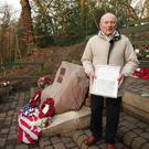 Tony Foulds, 82, waits in Endcliffe Park, Sheffield, to see his lifelong dream fulfilled when warplanes from Britain and the US stage a flypast over the memorial to salute the 75th anniversary of the Mi Amigo crash which claimed the lives of 10 American airmen (Danny Lawson/PA)