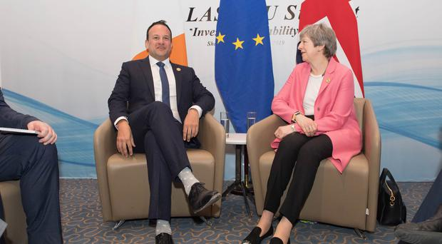 Prime Minister Theresa May during a bilateral meeting with Taoiseach Leo Varadkar as they attend the EU-League of Arab States Summit in Sharm El-Sheikh, Egypt. (Stefan Rousseau/PA)