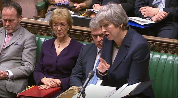 Theresa May during Prime Minister's Questions (House of Commons/PA)