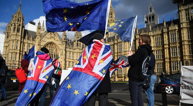 Anti-Brexit supporters outside the Houses of Parliament, as MPs vote to delay Brexit beyond the scheduled departure date of March 29 (Kirsty O'Connor/PA)