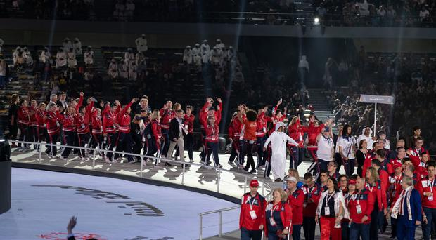The Special Olympics Great Britain team arrive at the opening ceremony of the Special Olympics World Games (Special Olympics World Games Abu Dhabi 2019)