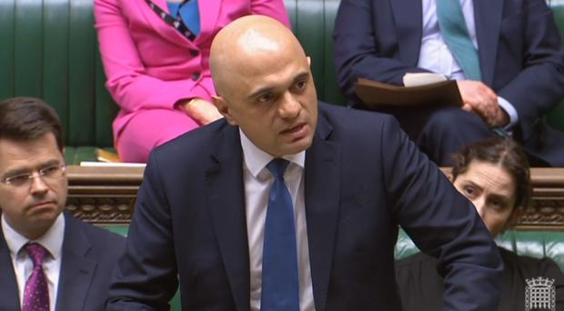 Home Secretary Sajid Javid speaking in the House of Commons, London about knife crime.