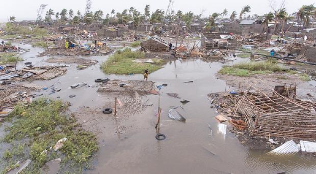 An aerial view of the destruction of homes in Mozambique in the wake of Cyclone Idai (British Red Cross/PA)