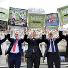 (From left) Alison Johnstone, Richard Leonard, John Swinney, Donald Cameron and Willie Rennie are backing the Wee Box appeal (Colin Hattersley/PA)