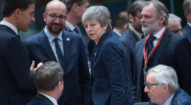 Prime Minister Theresa May at the Europa Building in Brussels ahead of the European Leaders' summit (Stefan Rousseau/PA)