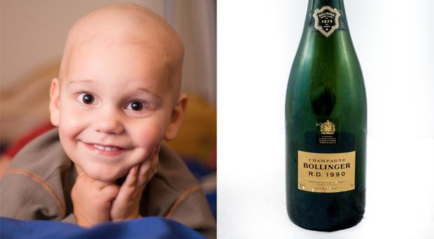 Christian Blandford, who has been through two bouts of cancer, and a bottle of 1990 Bollinger which was stolen and recovered (Peter Blandford/The Christian Blandford Fund)
