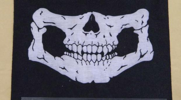A National Action skull mask, part of material released in the Old Bailey court case of Jack Renshaw (GMP/PA)
