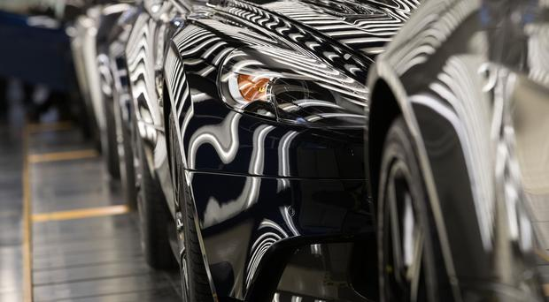 Aston Martin cars on display at the firm's headquarters in Warwick (Aaron Chown/PA)