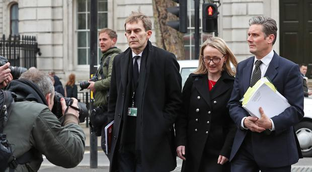 From left to right; Seamus Milne, shadow business secretary Rebecca Long-Bailey and Shadow Brexit secretary Keir Starmer after leaving the Cabinet office (Jonathan Brady/PA)