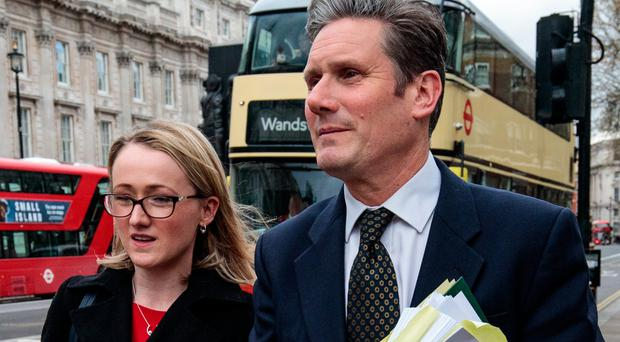 Shadow Brexit Secretary Keir Starmer and Shadow Business Secretary Rebecca Long Bailey leave the Cabinet Office in Westminster on April 4, 2019 in London, England. British Prime Minister Theresa May continues talks with Labour leader Jeremy Corbyn today to try to agree a compromise Brexit deal