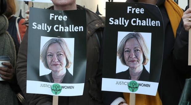 Supporters of Georgina Challen outside the Royal Courts of Justice (Jonathan Brady/PA)