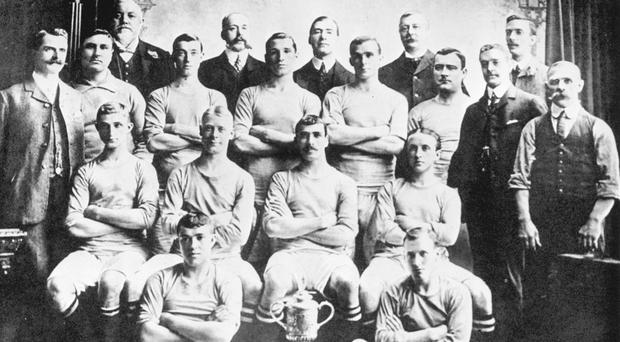 Manchester City's 1904 FA Cup winning team (PA)