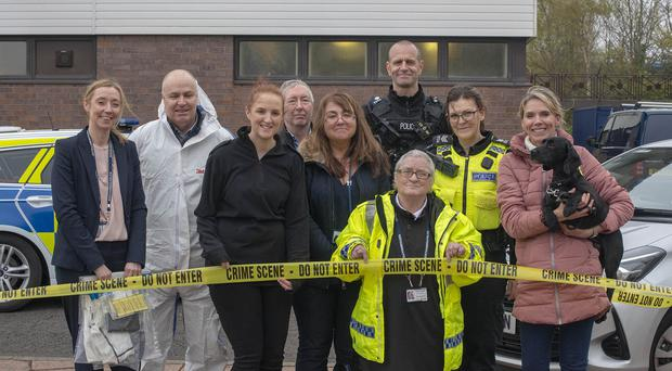Margaret Thornton with her team for the day (Northumbria Police/PA)