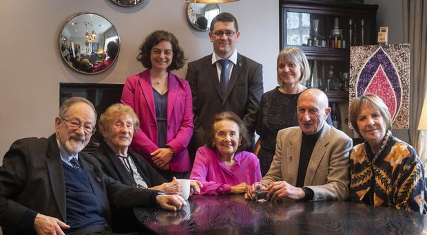 Olivia Marks-Woldman, Holocaust Memorial Day Trust chief executive, survivor Safet Vukalic, and Laura Marks, chairwoman of HMDT, (front row, left to right) survivors Dr Martin Stern, Susan Pollack, Lily Ebert and Maurice Blik, and Dame Penelope Wilton at the launch for Holocaust Memorial Day 2020 in London (Victoria Jones/PA)
