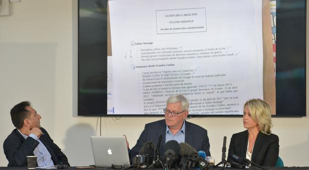 Fidel Narvaez, former consul of Ecuador to London, Kristinn Hrafnsson, editor-in-chief of WikiLeaks and barrister Jennifer Robinson gave details of the alleged spying (Nick Ansell/PA)