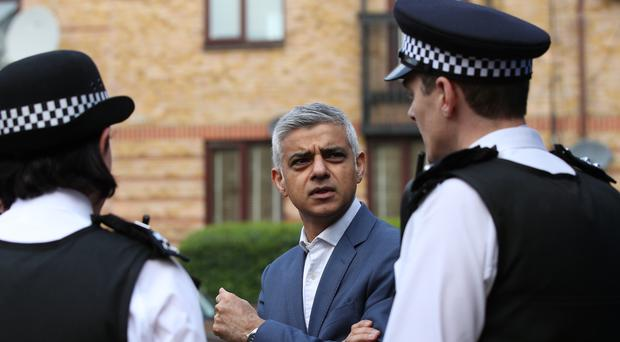 Sadiq Khan meets with officers from the Metropolitan Police at Stratford police station (Yui Mok/PA)
