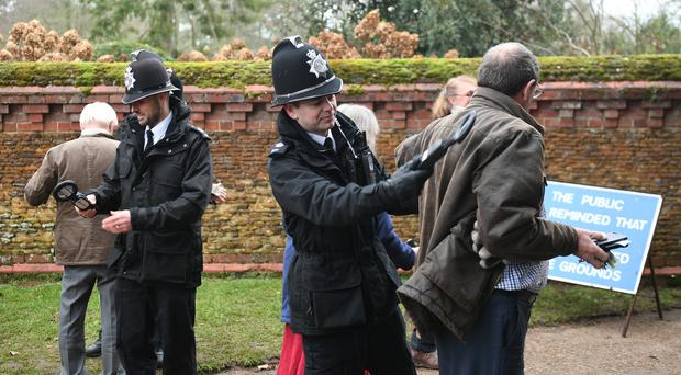 Wellwishers pass though a security check at St Mary Magdalene Church in Sandringham, Norfolk (Joe Giddens/PA)