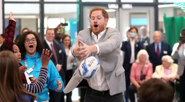 Harry takes part in activities as he attends the official opening of Future, a new Youth Zone in Barking and Dagenham (Chris Jackson/PA)