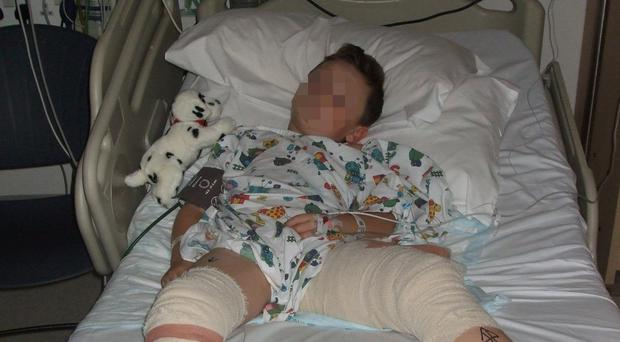 Christian Hickey Jr in his hospital bed (GMP/PA