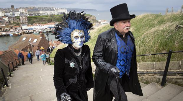 People attend the Whitby Goth Weekend (Danny Lawson/PA)