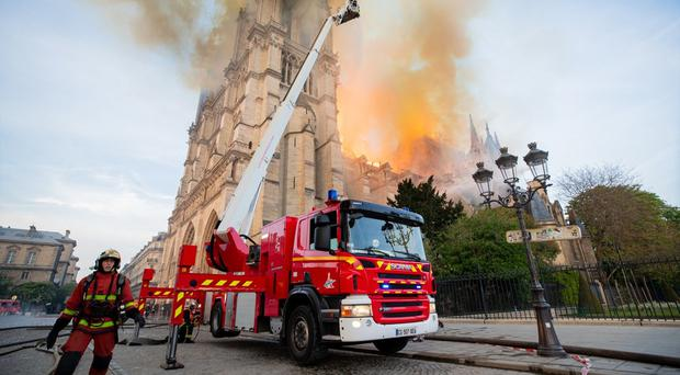 French firefighters at the scene of Monday's fire at Notre Dame cathedral (Benoit Moser/Pompiers de Paris/PA)