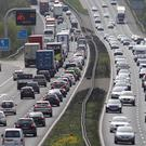 Traffic begins to build on the M3 motorway near to Winchester in Hampshire (Andrew Matthews/PA)