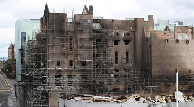The Glasgow School of Art was extensively damaged by fire last June (Andrew Milligan/PA)