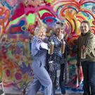 From left, Pearl Cameron, 68, Hazel Smith, 79, and Martine Shepherd, 65, some of the 'Graffiti Grannies' that took part in an over-65s street-art workshop (Jane Barlow/PA)