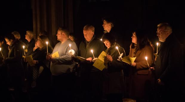 The candlelit Easter Vigil and Holy Eucharist at Lichfield Cathedral (Aaron Chown/PA)