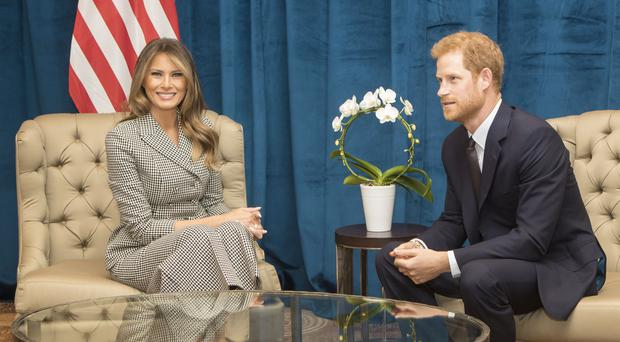 Prince Harry meeting with US First Lady Melania Trump in 2017 (Danny Lawson/PA)