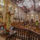 St Sebastian's Church was damaged in a blast in Negombo, north of Colombo (AP Photo/Chamila Karunarathne)