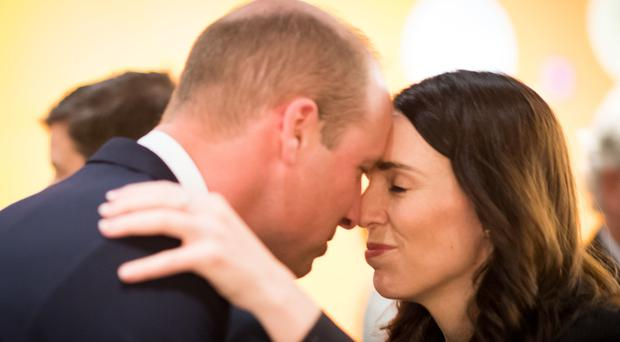The Duke of Cambridge shared a hongi, a traditional Maori greeting, with Prime Minister Jacinda Ardern (Mark Tantrum/New Zealand Government/PA)